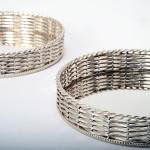Pair French silver-plated wine coasters