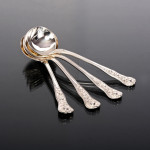 Extensive & rare hand-forged Rose silver cutlery set