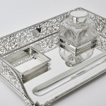 Large Victorian silver gallery inkstand