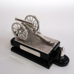 Rare & exceptional silver cannon inkstand