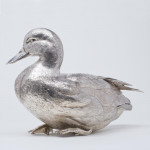 Pair lifesize cast & hand-chased silver mallard ducks