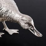 Model silver mallard duck - head down