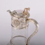 Victorian silver & glass wine jug