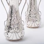 Pair of Art Nouveau silver vases