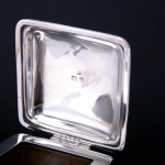 Pair Arts & Crafts glass & silver wine jugs