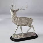 Fine pair large silver stags