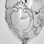 Pair Victorian silver wine goblets
