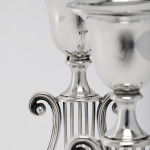 Pair antique neoclassical style silver lyre candlesticks