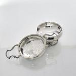 Silver tea strainer & bowl