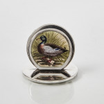 Antique hand-painted enamel game bird menu or place card holders