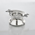Antique silver tea strainer & stand