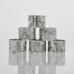 Rare set of nursery rhyme silver napkin rings