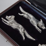 4 antique silver fox knife rests