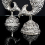 Pair Indian fish-shaped silver vases