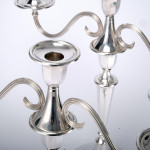 Pair neoclassical style silver candelabra