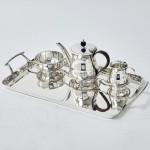 Silver bachelor tea set & tray