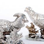 Silver pheasant & partridge menu holders