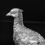 Pair silver model pheasants