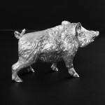 Standing silver wild boar