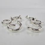 Set contemporary silver napkin rings