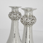 Pair Arts & Crafts style hammered silver candlesticks