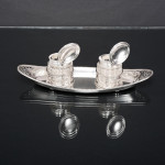 George III style 2-bottle silver inkstand