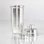 Contemporary hammered silver-plated cocktail shaker
