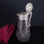 Hand-chased glass & silver-plated claret jug
