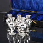 Boxed set antique silver vases