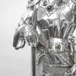 Pair antique silver knights in shining armour