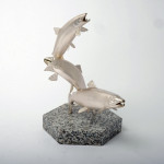 """Limited edition silver sculpture """"The Leaping Salmon"""""""