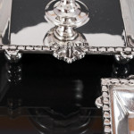 Victorian silver inkwell & candlesticks