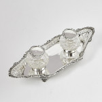 Antique two-bottle silver inkstand