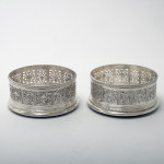 Pair exceptional George III silver coasters