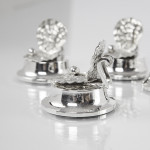 Set antique silver oyster shell place card or menu holders