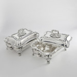 Pair Old Sheffield Plate entrée dishes on warmers