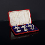 Set antique silver wishbone place card or menu holders