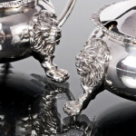 Pair Regency style silver mustard pots