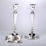 Pair George III style neoclassical silver candlesticks