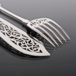 Pair Fiddle pattern silver fish servers