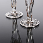 Pair American silver overlay vases