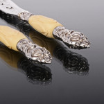 Pair antique silver & silver-plated fish servers