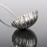Scottish bright-cut silver soup ladle