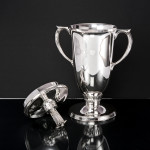 Imposing silver polo trophy cup & cover