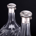 Pair Victorian fluted crystal decanters