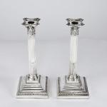 "Pair 12"" antique silver Corinthian candlesticks"