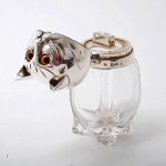 Silver & glass cologne bottle in the form of a cat