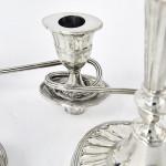 Pair 3-light George III style silver candelabra
