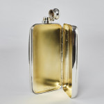 Unusual silver-plated hip flask & cigar holder