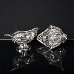 Pair antique Adam style pierced silver baskets